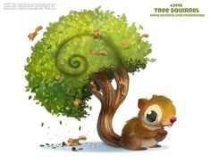 Daily Paint Tree Squirrel by Cryptid-Creations on DeviantArt Cute Animal Drawings, Kawaii Drawings, Cute Drawings, Cute Fantasy Creatures, Anime Animals, Cute Animals, Animal Puns, Bizarre, Kawaii Art