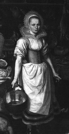 1620  a kitchen maid dressed in smock, corset, petticoat and apron.