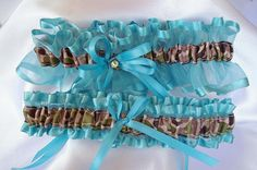 Tiffany Blue and Camo Wedding Garter...with by lotsofloveknots
