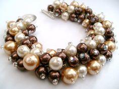 Bridal Jewelry, Wedding, Pearl Bridesmaid Bracelet, Cluster Bracelet, Pearl Bracelet, Brown and Ivory Pearl Jewelry - Designs by Kim Smith via Etsy