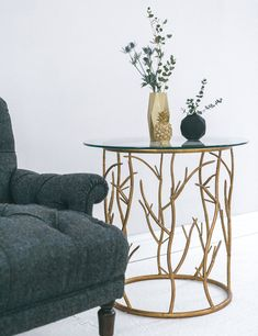 gold home accessories gold fretwork metal side tables, twig design Gold Furniture, Home Accessories, At Home Furniture Store, Gold Home Accessories, Living Room Side Table, Metal Side Table, Home Decor, Modern Furniture Living Room, Decor Essentials
