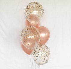 Rose Gold and Clear Gold Confetti Latex Balloons~First Birthday~Baby Shower Girl Birthday Party~Rose Gold Balloon~Gold Confetti Look Balloon Birthday Balloon Surprise, Gold Birthday Party, 30th Birthday Parties, Sweet 16 Birthday, Gold Party, 1st Birthday Girls, Happy Birthday, Comida Para Baby Shower, Rose Gold Balloons