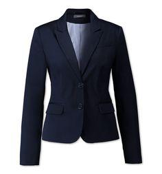 Functionimage view Blazer in dunkelblau 50 € Außenmaterialien: Rückeninnenbereich: 98% Baumwolle, 2% Elasthan Hauptteil: 98% Baumwolle, 2% Elasthan Futter: Rückeninnenbereich: 78% Polyester, 22% Baumwolle Hauptteil: 100% Polyester