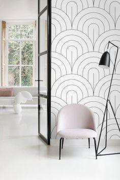 Motif Art Deco, Black And White Wallpaper, Statement Wall, Yin En Yang, Mural Wall Art, House Colors, Design Art, Living Room, House Styles