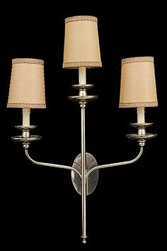 Pair of Vintage French 3-Arm Silverplated Sconces with Parchment Shades