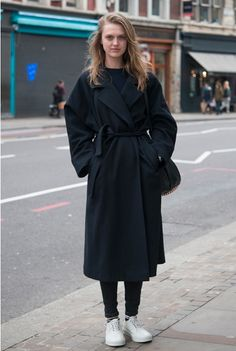 big coat, white shoes, belted
