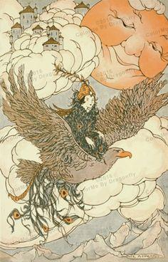 Awesome Vintage Hawk, Pretty Elf Riding on His Back. Vintage Hawk Art. Vintage  Elf  ILLUSTRATION! Hawk Digital Download.