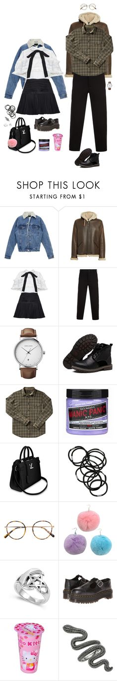 """Im his little girl and he is my Nerd!!!"" by zazzycat ❤ liked on Polyvore featuring Schott NYC, Yohji Yamamoto, Georg Jensen, Filson, Manic Panic NYC, Monki, Dr. Martens, Hello Kitty and Pandora"