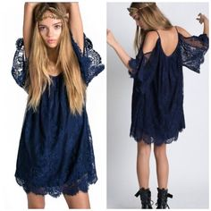 How to Chic: BLUE LACE BOHO DRESS    Fashion outfits and clothes for women