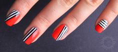 Stripes Nail Art Qikkwit Your Knowledge Partner In Lifestyle Wallpaper Love Nails, Red Nails, How To Do Nails, Pretty Nails, Hair And Nails, White Nails, Nail Art Stripes, Striped Nails, Nail Art For Beginners