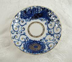 Peacock- Lomonosov Russian Porcelain Teacup and Saucer- Tsar Bird Pattern- Cobalt Blue and Gold- Handpainted Vintage China. $52.00, via Etsy.