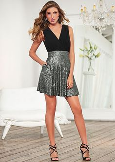 Sequin skirt dress, strappy heel in the VENUS Line of Dresses for Women