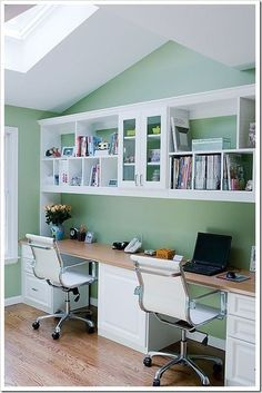 homework station - just add recessed lighting under the shelf