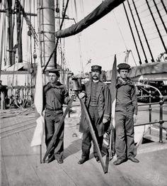 Signalmen of Rear Admiral John A. Dahlgren's flagship receiving a message from the Georgia shore, 1865.