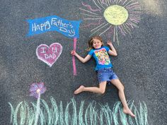 Fathers Day chalk art - A great special photo for Dad--made simply from chalk on the driveway. Easy, cute, and original. Start by finding a good spot on the driveway. Work with your kiddo and some chalk. Step up the ladder and take some photos! (If it's too sunny add some sunglasses.) Finish up by editing the photo if needed.