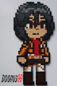 Mikasa Ackerman attack on titan perler beads hama by Sidorus00 H= 26 cm L= 13 cm