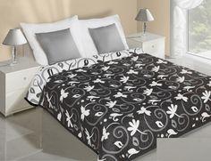 Kvety obojstranné prehozy na posteľ čierno biele