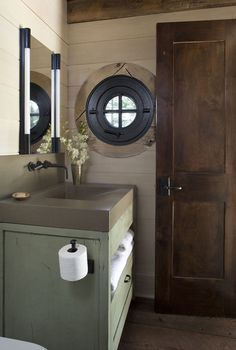 Stone Cottage - rustic - powder room - denver - TKP Architects pc--love that toilet tissue holder! Country Modern Home, Country House Design, Cottage Design, Cottage Style, French Country, Mountain Cottage, Mountain Living, Mountain Style, Rustic Powder Room