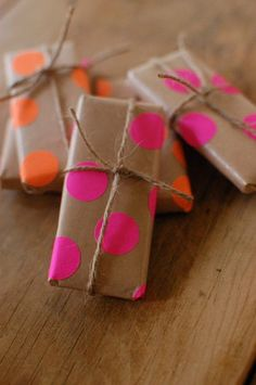 Neon Polka Dotted Gifts...what a cool idea!