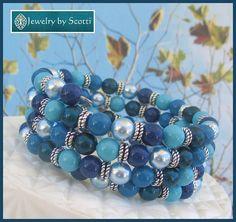 Blue Multistrand Pearl Wrap Bracelet Pearl Coil Bracelet