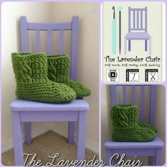 Chunky Cabled Slipper Boots Crochet Pattern - The Lavender Chair Mode Crochet, Crochet Cable, Crochet Slippers, Crochet Yarn, Crochet Gifts, Knitting Patterns Free, Crochet Patterns, Hat Patterns, Crochet Ideas