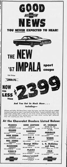 Used Car Lots, Used Cars, Advertising, Ads, Impala, American History, Automobile, Vintage
