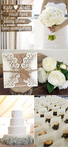 rustic elegance white wedding ideas and laser cut wedding invitations