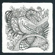 Photo Gallery: Zentangles » Zentangle Tiles » Wren Tangle 2