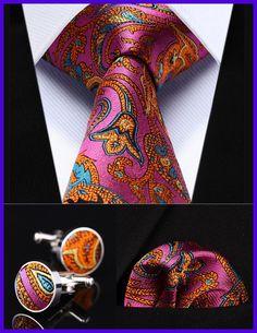 "Party Wedding Classic Pocket Square Tie TZP12K8 Pink Orange Paisley 3.4"" Silk Men Tie Necktie Handkerchief Cufflinks Set"