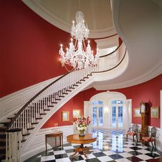 Traditional Staircase Design, Pictures, Remodel, Decor and Ideas - page 13 Curved Staircase, Staircase Design, Winding Staircase, Staircase Ideas, Grand Staircase, Bel Air, Red Chandelier, Chandeliers, Traditional Staircase