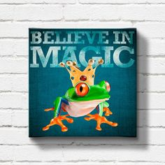 The Frog Prince - A romantic frog with a crown on rustic blue background (ready-to-hang wrapped canvas), gift, wall decor, wall art, love on Etsy, $60.00