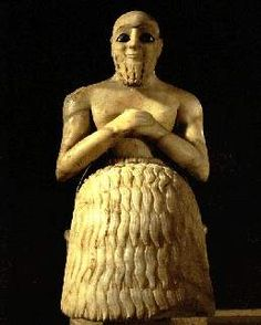 This shows a man wearing a Kaunakes from the Mesopotamian Civilizations. Kaunakes used in European art to symbolize people from little known or distant lands of the Middle East. A greek word applied to a fleece-like fabric used to make skirts, which were defined by their repetitive points. The Mesopotamian civilizations  devoted great care to oiling and dressing their beards, which the man has depicted in the picture.