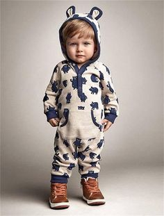 Model Number: Romper Jumpsuit Cute Bear Material: Cotton,Polyester Gender: Unisex Sleeve Length: Full Closure Type: Covered Button Pattern Type: Animal Material Composition: Cotton Collar: Hooded Fit: Fits true to size, take your normal size Department Name: Baby Item Type: Rompers