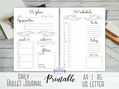This item is a printable bullet journal insert with 2 pages. --> 2 daily planner pages with daily top priorities, exercise tracker, shopping list and much more! -If You are into bullet journaling, but have no time to create new spreads every day, this printable is just for You!