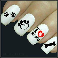 Animal Nail Decal Love My Dog Nail Art 20 Water Slide Decals Fingernail Decals Nail Tattoos Nail Transfers Dog Nail Decals – Fancy Nails Dog Nail Art, Finger Nail Art, Dog Nails, Cute Nail Art, Cute Nails, Animal Nail Designs, Toe Nail Designs, Paw Print Nails, Nails For Kids
