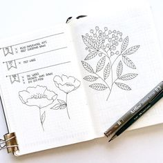 Bullet journal weekly layout, monochromatic layout, floral drawings. @_intosimple