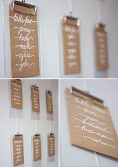 clipboard wedding table plan