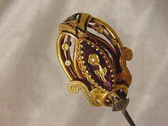 Victorian amethyst glass  enamel gilt dore hatpin