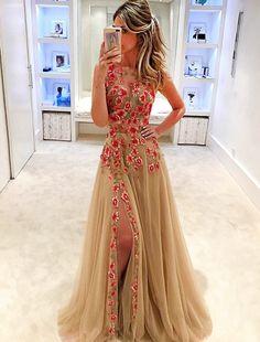 Champagne Prom Evening Dress, Jewel Sleeveless, Appliques #prom #promdress #dress #eveningdress #evening #fashion #love #shopping #art #dress #women #mermaid #SEXY #SexyGirl #PromDresses