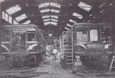 RM 61 (left) and RM 55 (right) at Newport Workshops in 1976 undergoing rebuilding. Rhode Island History, Newport, Victorian, Train, Car, Photograph, Photography, Automobile, Cars