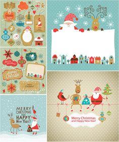 Funny cartoon #Christmas cards with Santa #vector