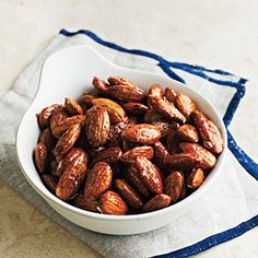 Honey-Glazed Almonds: You can take these spicy nuts with you anywhere for a quick pick me up. This snack is less than 150 calories.