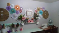 Craft room decor organization colorful cheery shabby chic Sugardivasdesigns purple coral pink teal mint white gold