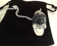 Crystal Skull Necklace. Resin Skull. Silver Chain. by MintMarbles, $18.00