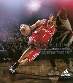 This ad aims to have consumers prefer Adidas over any other brand through… Adidas Ads, Adidas Shoes, Tracy Mcgrady, Sports Marketing, Adidas Fashion, Nba Basketball, Benefit, Athlete, Advertising