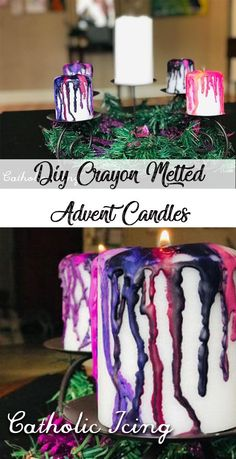 It is so easy to melt crayons over cheap white candles! No more searching for pink and purple candles at Advent or overpaying! Making Crayons, Melt Crayons, Advent Wreath, Wreath Crafts, Wreath Ideas, Purple Candles, White Candles, Best Candles, Soy Wax Candles