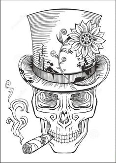 day of the dead, baron samedi drawing royalty-free stock vector art Skull Coloring Pages, Love Coloring Pages, Printable Adult Coloring Pages, Coloring Books, Caveira Mexicana Tattoo, Baron Samedi, Skull Artwork, Desenho Tattoo, Halloween Coloring