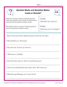 Mind your Ps (punctuation) and Qs (question marks and quotation marks) with this worksheet! Types Of Sentences Worksheet, Punctuation Worksheets, Vocabulary Worksheets, 8th Grade Ela, 5th Grade Writing, 6th Grade Reading, 6th Grade Worksheets, Letter Worksheets For Preschool, Punctuation Quotation Marks