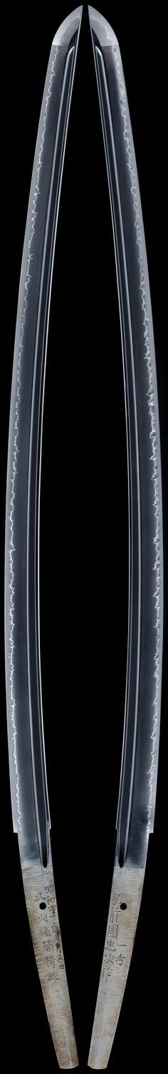 Tachi [Hizenkoku-jyu Kazuyoshi&Tadatugu]. N.D. Katana Swords, Samurai Swords, Knives And Swords, Japanese Blades, Japanese Sword, Arsenal, Armas Ninja, Martial Arts Weapons, Art Of Fighting