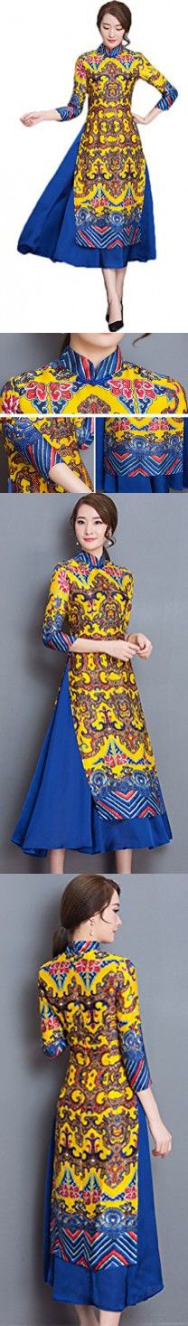 Soojun Women's Fashion Floral Printed Two Layered Cheongsam Dress with Sleeves, Yellow, US 8